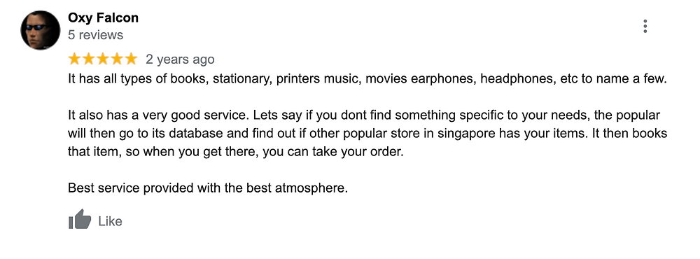 popular bookstore google review on service and stationery