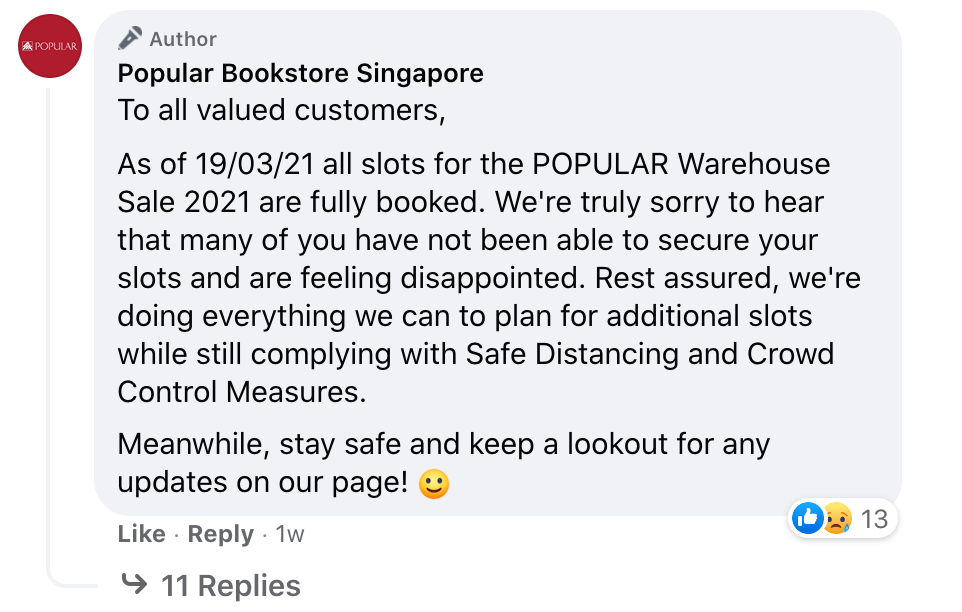response to those who were unable to secure a spot at the sale