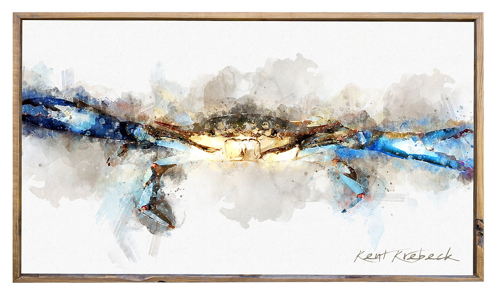 Crab Watercolor with Barn Wood Shadowbox