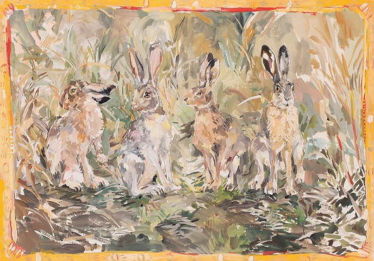 「Hares in the woods」 341×515mm,2020.jpg