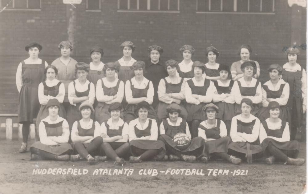 Team Photograph of Huddersfield Atalanta Ladies AFC. Black and White.