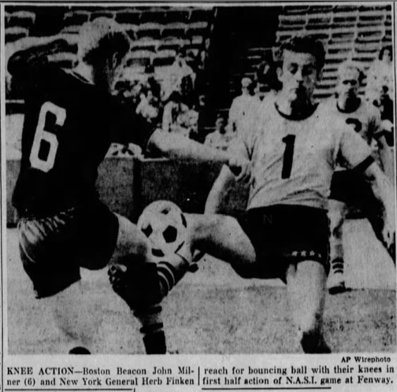 Newspaper clipping from the Baltimore Sun (Baltimore, Maryland) dated 27th May 1968. Milner is on the left (number 6).
