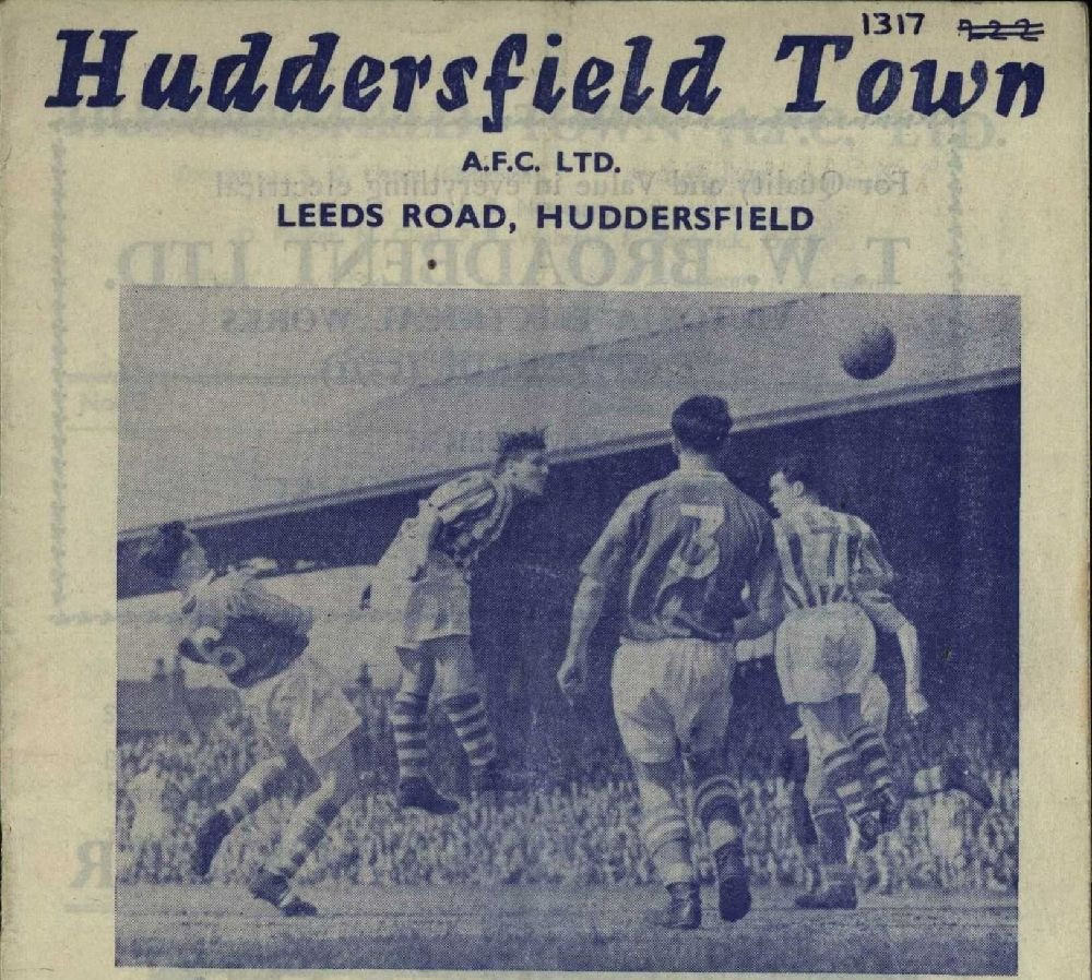 Front cover from a Huddersfield Town matchday programme (Saturday, 19th November, 1960 v Scunthorpe United). Copyright resides with Huddersfield Town. Image reproduced for the Huddersfield Town Heritage Project.