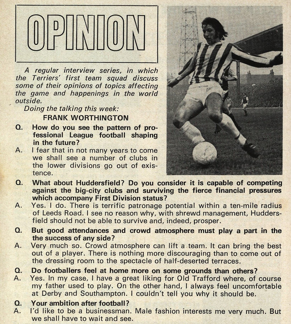 Photograph of Frank Worthington from a Huddersfield Town matchday programme (Saturday, 25th September 1971 vs Leeds United). Copyright resides with Huddersfield Town. Image reproduced for the Huddersfield Town Heritage Project.