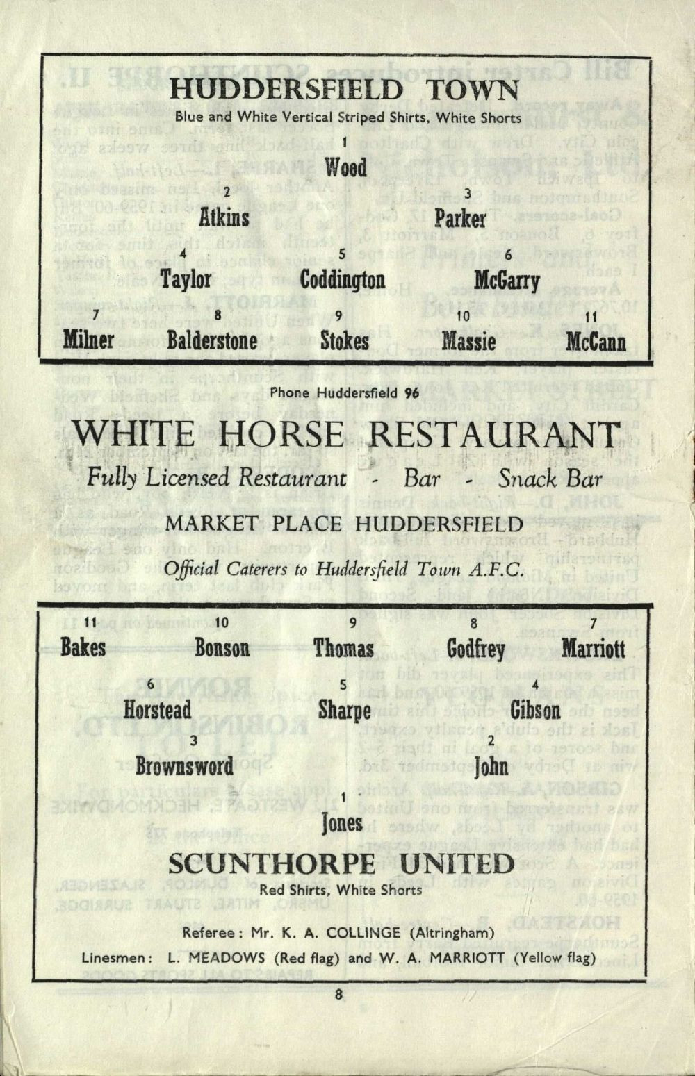 Team sheet from a Huddersfield Town matchday programme (Saturday, 19th November, 1960 v Scunthorpe United). Copyright resides with Huddersfield Town. Image reproduced for the Huddersfield Town Heritage Project.