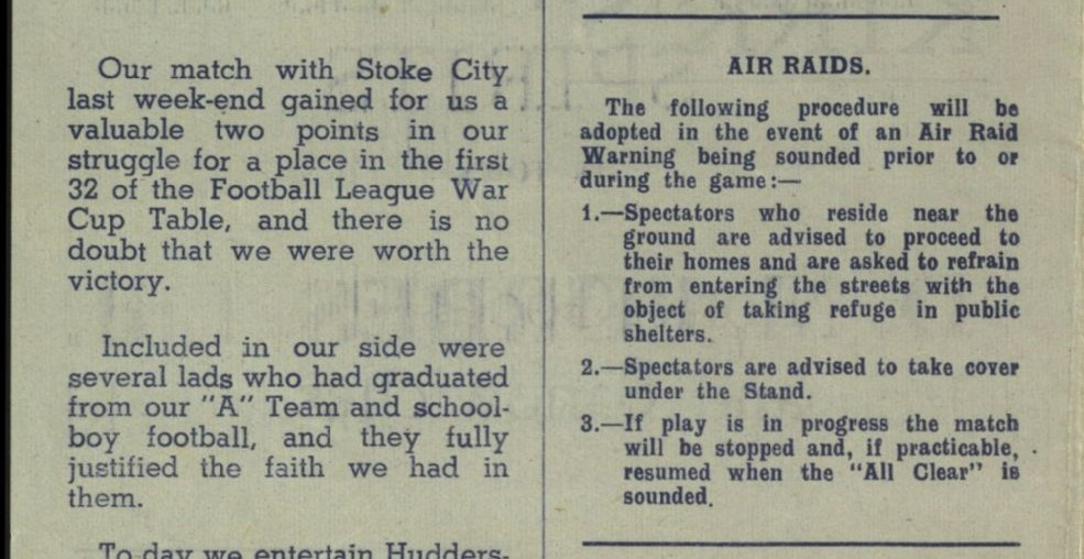 Air raid precautions from a Chesterfield matchday programme (Saturday, 21st March, 1942 vs Huddersfield Town). Copyright resides with  Chesterfield Football Club Limited. Image reproduced for the Huddersfield Town Heritage Project.