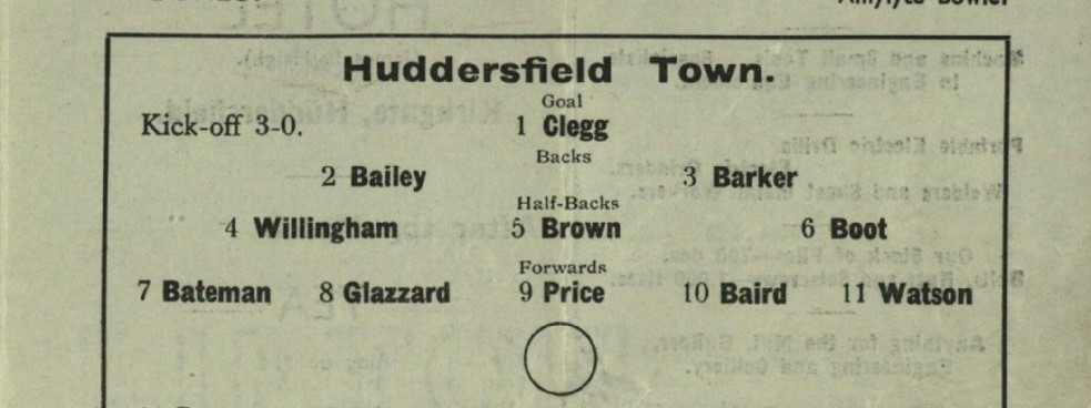 Team sheet from a Huddersfield Town matchday programme (Saturday 23rd December, 1944 vs Newcastle United). Copyright resides with Huddersfield Town. Image reproduced for the Huddersfield Town Heritage Project.