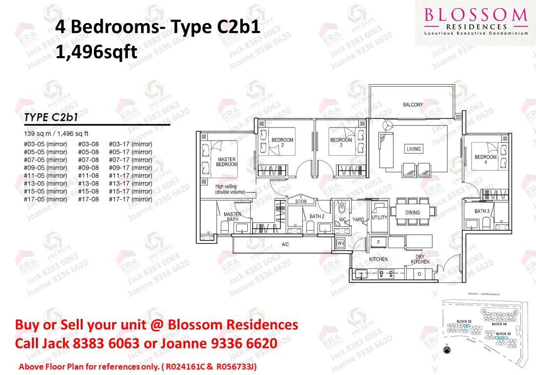 Blossom Residences 4 bedroom Floor plan.
