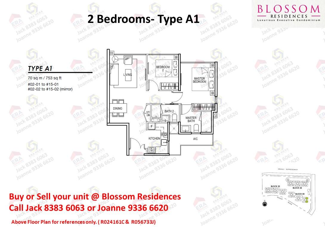 Blossom Residences 2 bedroom Floor plan