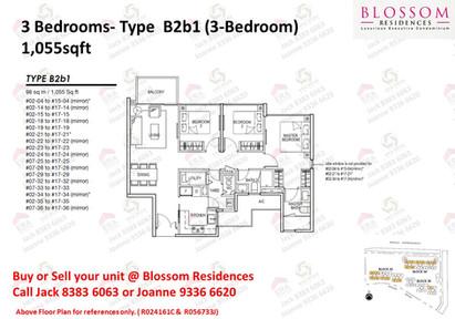 Blossom Residences 3 bedroom Floor plan