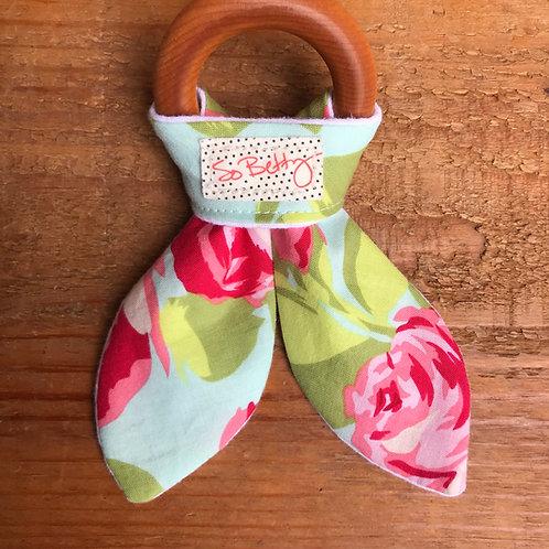 Wooden Teething Ring in Tumble Rose
