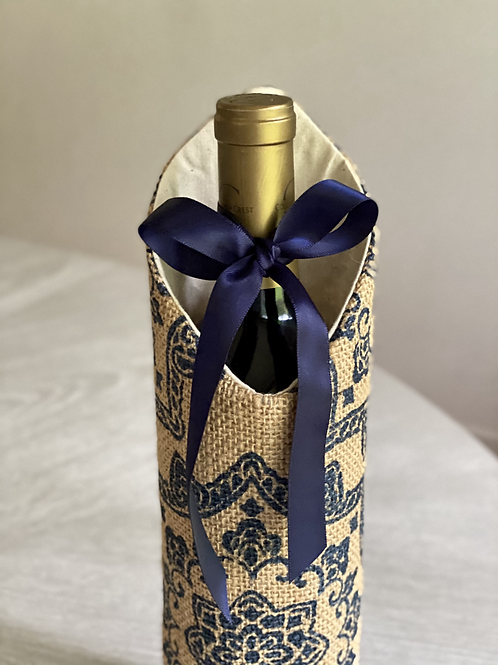 Medallion Stamped Burplap Wine Sleeve