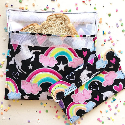 Glitter Unicorn and Rainbow Snack Bags