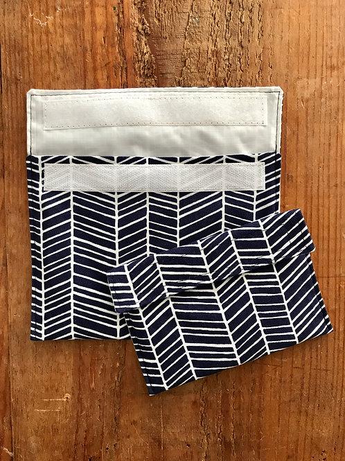 Navy Blue Herringbone Snack Bags