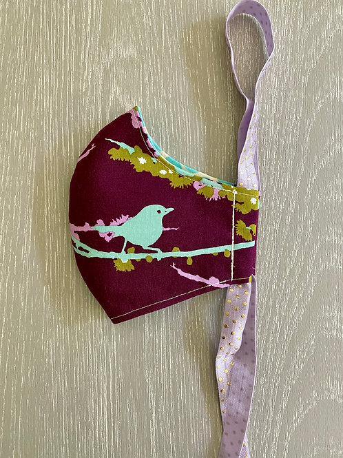 FACE MASK - Sparrows in Plum