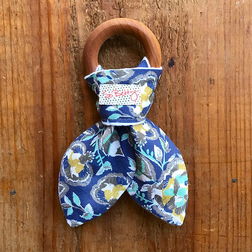 Wooden Teething Ring in Indigo Foxtails