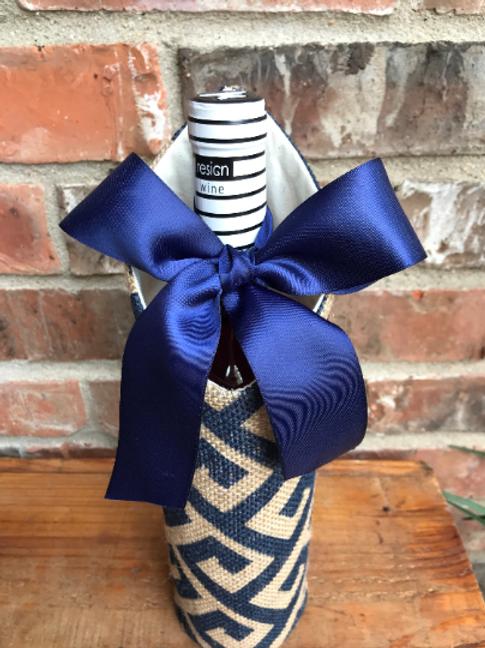Greek Key Stamped Burlap Wine Sleeve