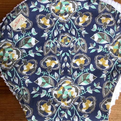 Burp Cloth in Indigo Foxtails