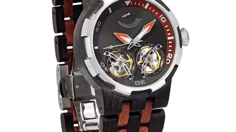 Men's Dual Wheel Automatic Ebony & Rosewood Watch - For High End Watch Collector