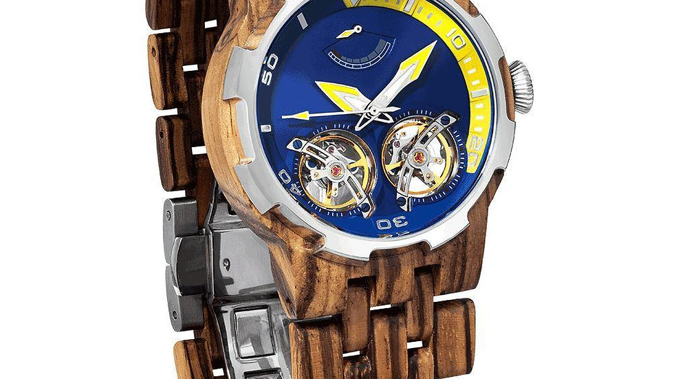 Men's Dual Wheel Automatic Zebra Wood Watch - For High End Watch Collectors