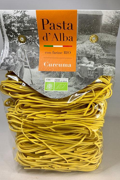 Organic artisan Turmeric and Durum Wheat Taglioni pasta (250g).