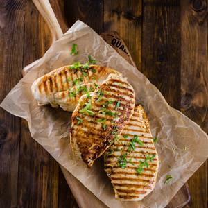 Griddled chicken breasts