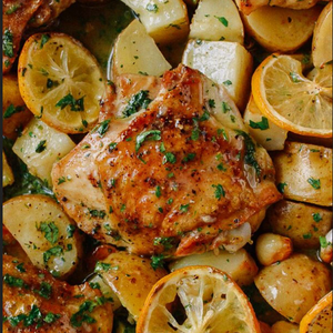 Greek style Lemon & herb roasted chicken and potatoes