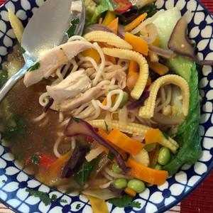 Asian hot & sour noodle soup