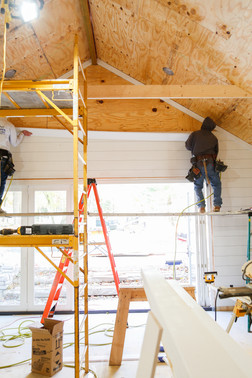 Ship lap walls in Lake Geneva Wisconsin on a custom home build