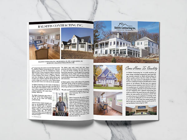 Balsitis Contracting Article in At the Lake Magazine