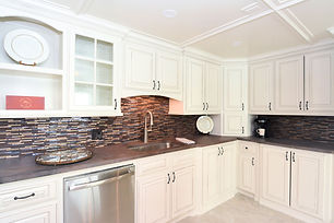 Kitchen Remodel in Fontana Wisconsin with gorgeous brown tile backsplash