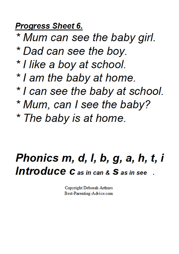 THIS ONE Checkout Sheet 6 with phonics D