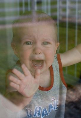 Upset Caucasian Toddler Baby Boy Cries T
