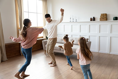 Funny active family of four young adult