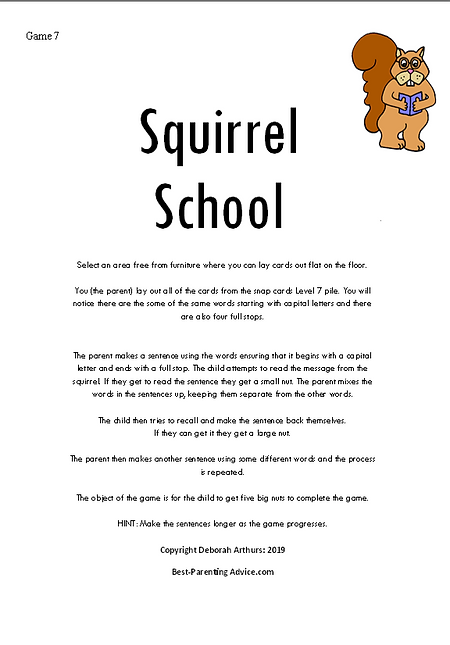 Level 7 Squirrel School directions debs