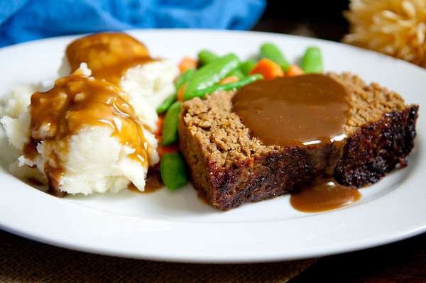 delicious meatloaf with mashed potatoes,
