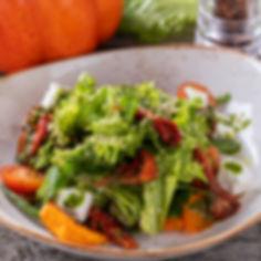 Closeup photo of pumpkin salad with aspa