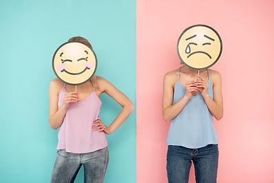 Emoji atmosphere. Waist up of smiling gi