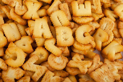 alphabet for a snack on white background