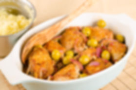 chicken roasted with olives and red onio