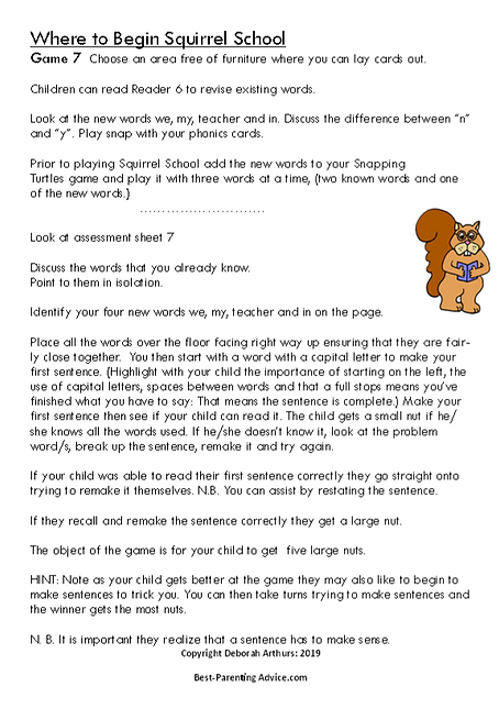 Level 7 Squirrel school directions page