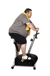 Fat man playing sport isolated on a whit