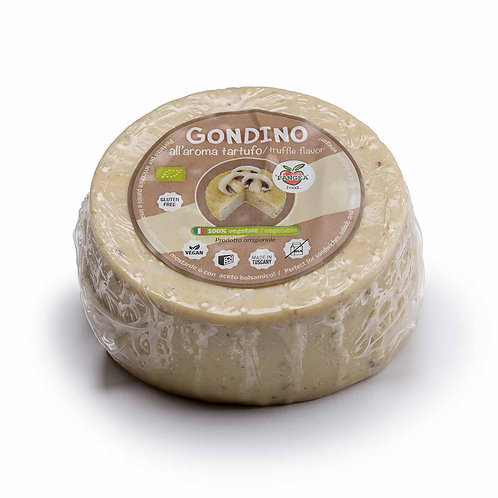 Gondino with White Truffle & Mushrooms Organic vegan cheese block Pangea Italian vegan food company