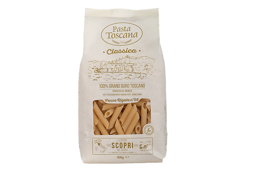 Penne rigate Pasta Toscana bronze drawn Italian classic shop online with worldwide delivery