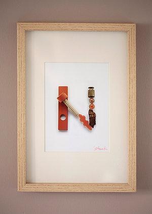 N Orange métal et bois (21x29,7cm)