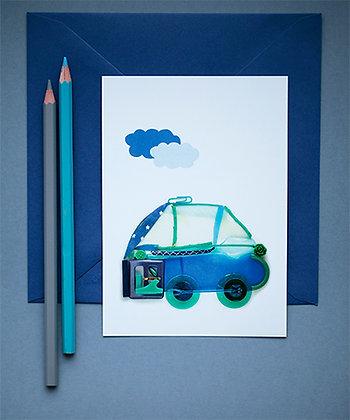 Petite voiture bleue