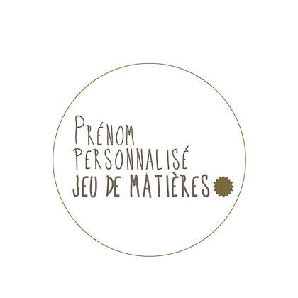 Prénom Personnalisé Jeu de Matières