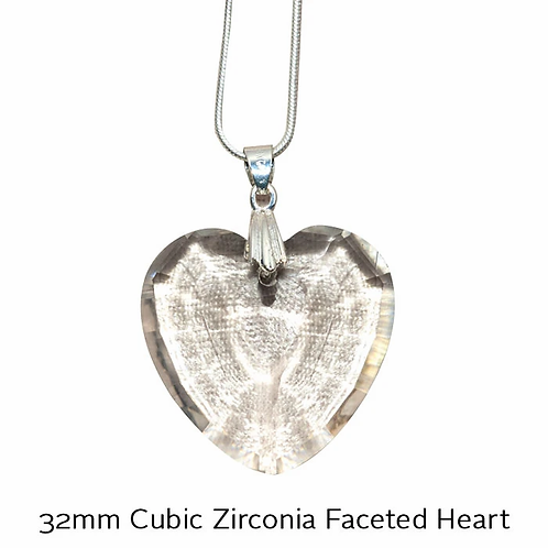 Harmonywear - 32mm Cubic Zirconia Faceted Heart