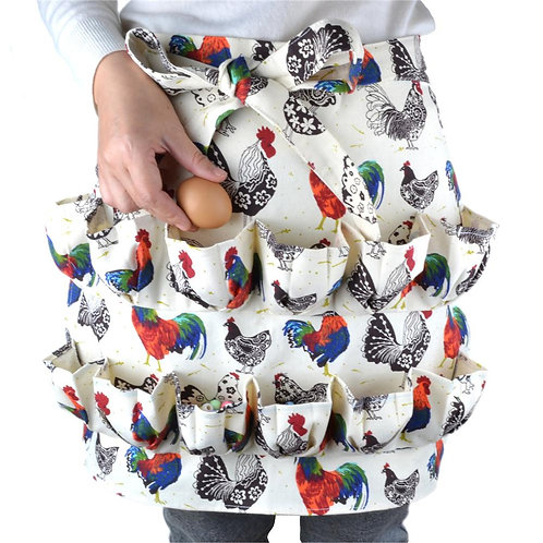 12 Pocket Egg Collecting Harvest Apron for Chickens Ducks Geese Backyard Farmer