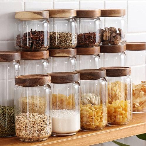 Kitchen Storage Transparent Glass Bottle Wooden Lid Sealed Jar House Organize